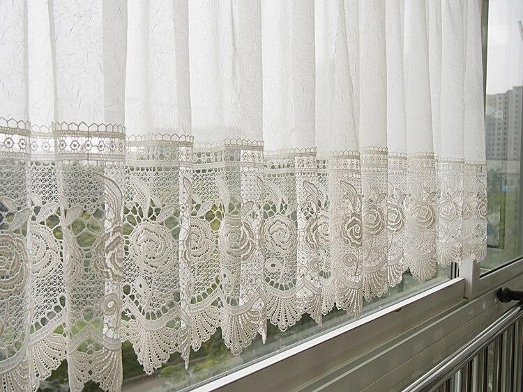 Burnout cortina de encaje para cocina y puerta blanca corta cortina ...