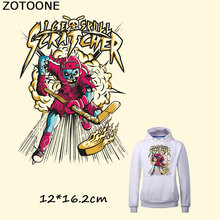 ZOTOONE Fashion Skull Iron on Patches for Clothes Flag Stickers Print T-shirt Dresses A-level Washable Patch Heat Transfer F