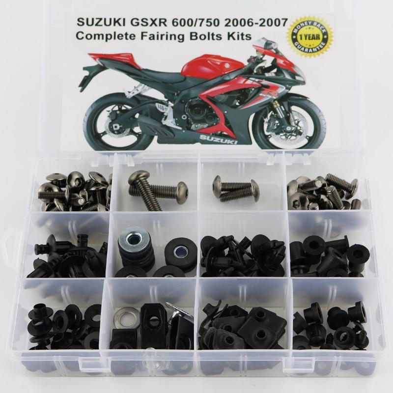 Для Suzuki GSXR600 GSXR750 GSX-R600 750 GSXR 600 750 2006 2007 Полный Комплект болтов обтекателей зажимы винты стали - Цвет: Titanium