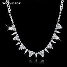Женское Ожерелье с кристаллами toucheart серебристые подвески