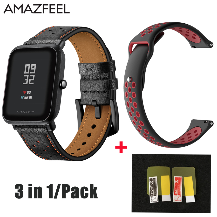 3in1/Pack Amazfeel Bracelet Amazfit Bip Bit Band for Original Xiaomi Huami Aamazfit bip Xiaomi Youth Smartwatch Watch Strap 20mm
