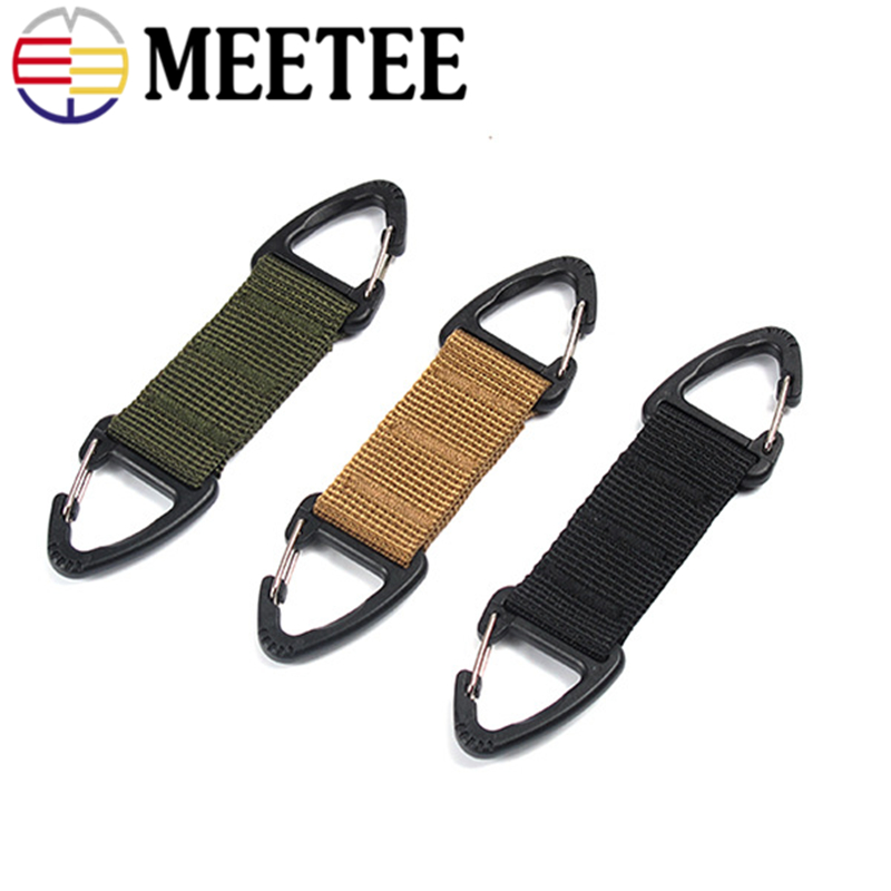 4pc Outdoor Tactical Nylon Webbing Backpack Hanging Buckle Belt Clip Climbing Carabiner Buckle Clasp Hanging Chain Keychain Hook