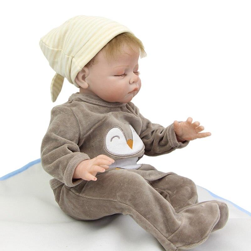 2016 NPK Collection Lifelike Reborn Baby Doll Boy Boneca Wearing Dark Gray Penguin Clothes Kids Toy Birthday Xmas Gift