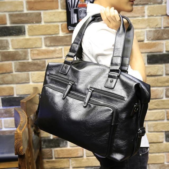 2018 Для мужчин s большой Ёмкость сумки Повседневное Для мужчин Курьерские сумки Высокое качество Pu кожа Сумка дорожная Для мужчин сумка P215