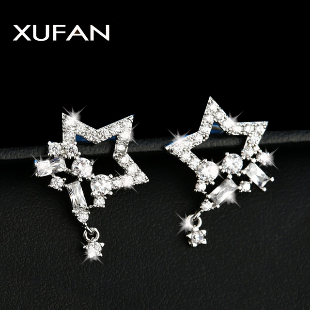 2 Style Fashion White Gold Color Pentagonal star Cubic Zircon Stud Earrings Crystal Exquisite Bridal Wedding Jewelry XUF115