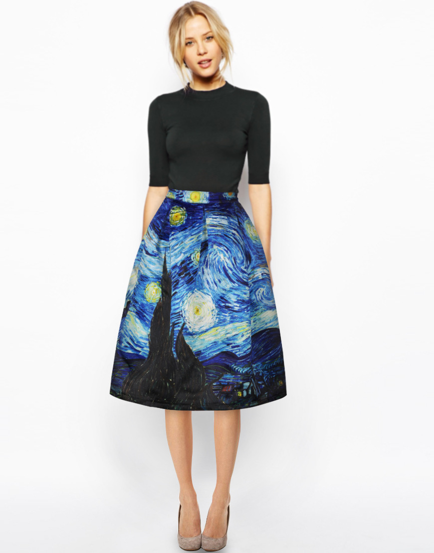 2018 Vintage Skirt High Waist Work Wear Midi Skirts Womens Van Gogh painting clouds printing Jupe Femme Saias 4XL