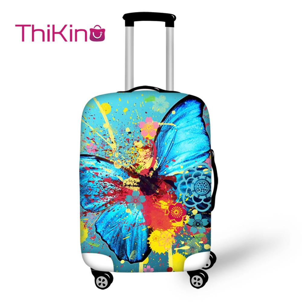 Thikin Butterfly Travel Luggage Cover for Teens Cartoon School Trunk Suitcase Protective Bag Protector Jacket