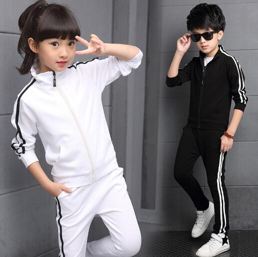 Kids Clothes Set Spring Autumn Girls Boys Long-sleeved Sports Suits Children Teenage Jacket+Pants 2pcs Sets Clothing Tracksuits 2016 spring new girls sets long sleeved denim jacket with striped lace dress two piece nice quality children clothing set a396