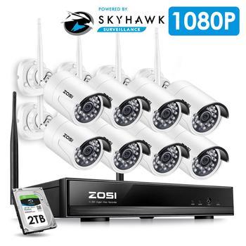 ZOSI 8CH система видеонаблюдения беспроводная 1080P HD NVR 8 шт. 2.0MP инфракрасный наружный водонепроницаемый P2P Видеокамера с Wi-Fi система наблюдения ... >> ZOSI Official Store