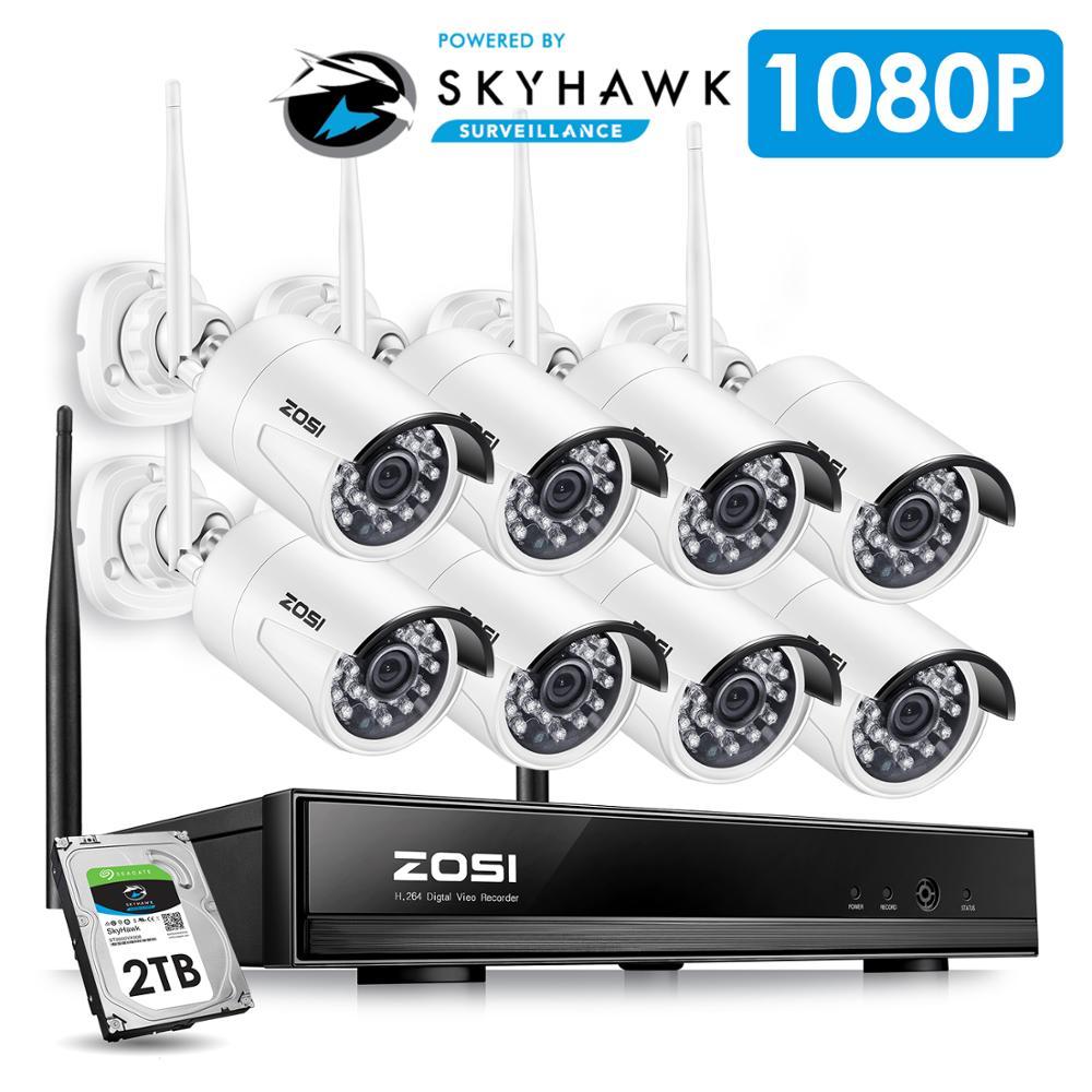 ZOSI 8CH System CCTV bezprzewodowy 1080 P HD NVR 8 sztuk 2.0MP IR na zewnątrz wodoodporny P2P kamera monitoringu Wi-Fi System zestaw do nadzorowania