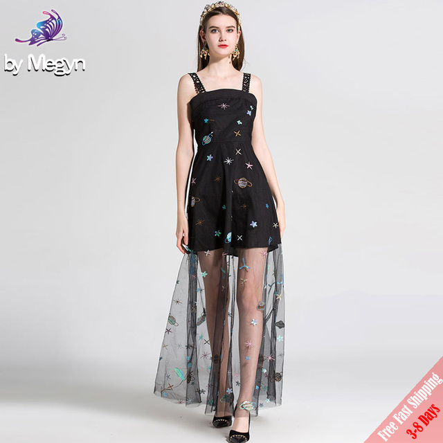 High Quality Fashion Designer Maxi Dress 2018 Summer Sexy Spaghetti Strap  Black Embroidered Sequined Mesh Long Dress Free DHL ab0d9388342d