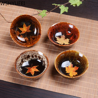 High quality ceramic tea cup Jianye Tianmu tea set new maple leaf products handmade daily 4 sets of tea cups tea set