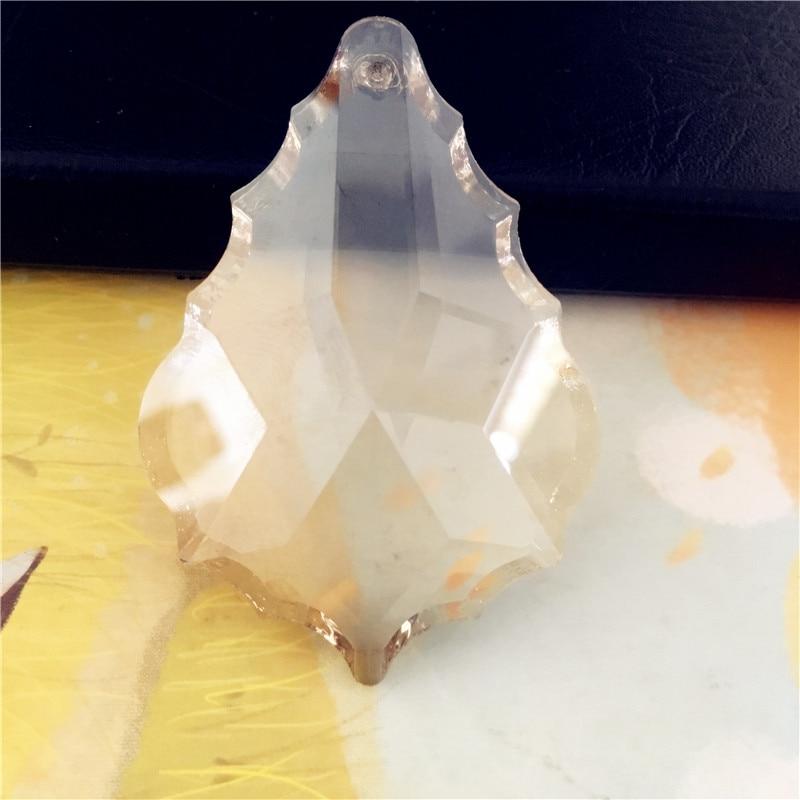 Nice 76mm 6pcs/Lot Crystal Maple Leaf Pendants Cognac Glass Lighting Suncatchers For Home Decoration Chandelier Prism Pendants