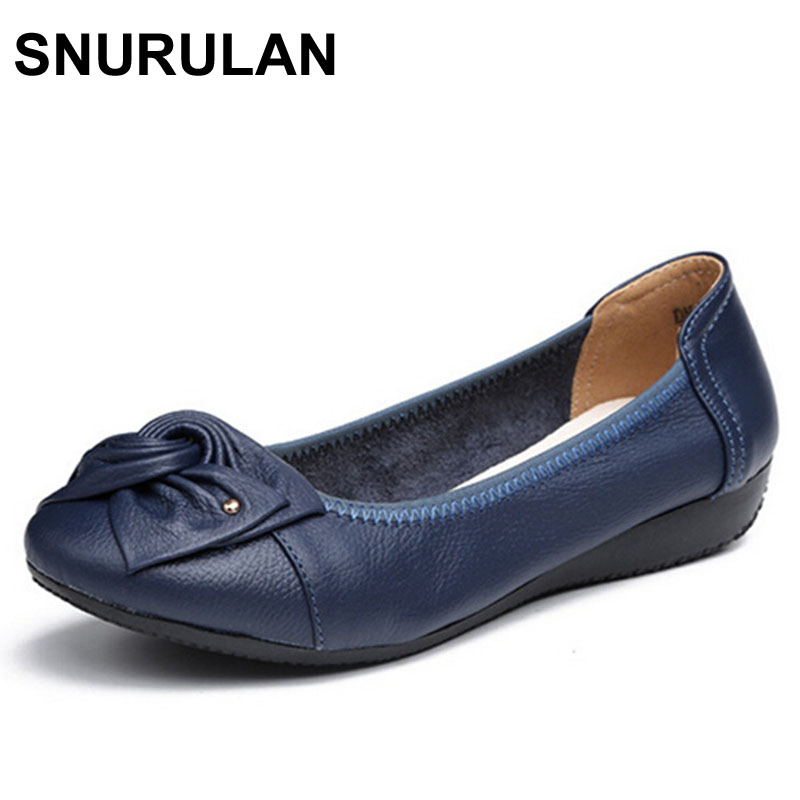 SNURULAN Handmade genuine leather ballet flat shoes women female casual shoes women flats shoes slip on leather car-styling flat визитница karl lagerfeld karl lagerfeld ka025dwauow8