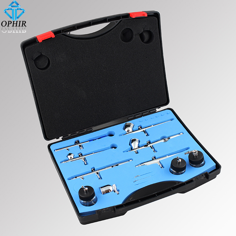 OPHIR 6kom Dual-Action Airbrush set kompleta 0.2mm 0.3mm 0.35mm 0.5mm Air Brush Gun za model Hobby Cake dekoracija Paint body _AC048