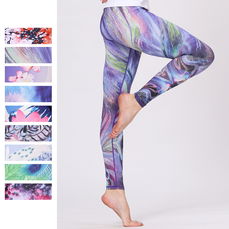Yoga Leggings Sport Women Fitness 2018 New Printed Sweat Pants Compression Running Tights Breathable Quick Dry Fitness Gym Pants