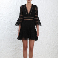 Runway Summer Dress 2018 High Quality Sexy Women Black V Lead Lace Hollow Out Perspective Will