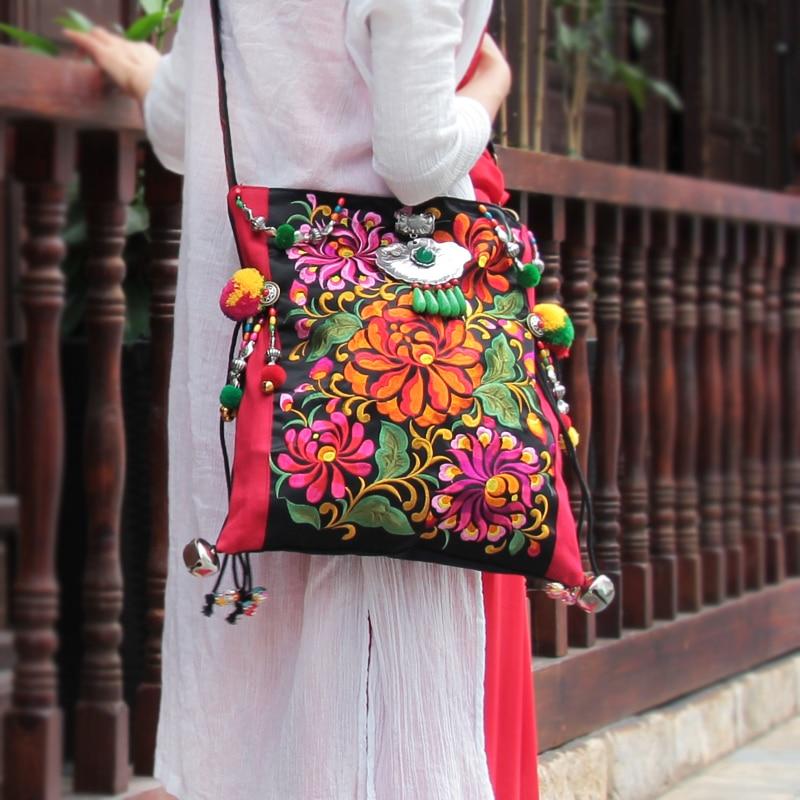 Vintage Original National Embroidery Shoulder Bag Indian Handmade Pompon Beaded Floral Embroidered Bags Handbags Sac a Dos Femme