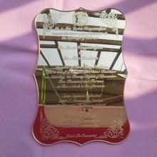 Golden mirror acrylic wedding invitation card scroll shape laser engraving letters