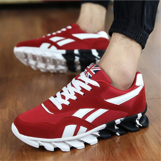 UK Shoes Store - Mens Genuine Leather Sneakers Breathable Hiking Trainers Sports Running Shoes