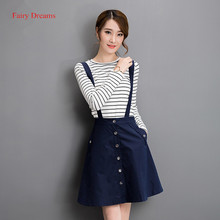 Fairy Dreams Two Piece Set Womens Casual Korean Jeans Suits 2017 Summer Style Long Sleeve Striped T Shirt Tops And Denim Skirts