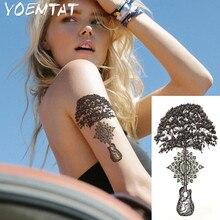 1PC Red Roses Hot Black White Large Flower Henna Temporary Tattoo Black Mehndi Style Waterproof Tattoo Sticker