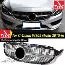 W205 Diamonds Front Grille ABS Silver c class c180 c200 c250 c280 c300 c350 c400 c63 sports Without Emblem Front grille 2015-in