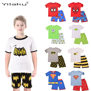 Yilaku Boys  Clothing Sets Superman Spiderman Batman Minions Kids Cartoon T-shirts+Shorts Pijamas Childrens Clothes CF209