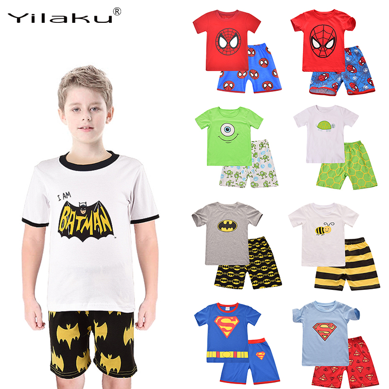 953466f44e Yilaku Boys Spiderman Batman Kids Cartoon Pijamas Clothes