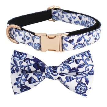 אינדיגו כחול פרחוני דפוס כלב עניבת פרפר צווארון כחול ולבן פורצלן מתכוונן לחיות מחמד כותנה כלב & חתול מתנות