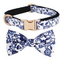 Индиго синий цветочный узор собака галстук-бабочка синий и белый фарфор Регулируемый ПЭТ хлопок собака и кошка подарки