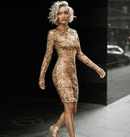 New Year Gold Bodycon Dress High Quality Luxury Christmas Party Dress Winter Spring Mesh Long Sleeve Nude High Neck Dress N 106