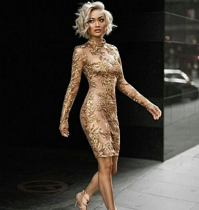 Nouvelle Année Or robe moulante qualité supérieure De Luxe De Noël tenue de fête D'hiver Printemps Maille à manches longues Nude Col Haut Robe N-106