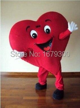 Speciální Valentýnský maskot, velikost dospělého Maskotový kostým s červeným srdcem Fancy Heart Mascot Costume