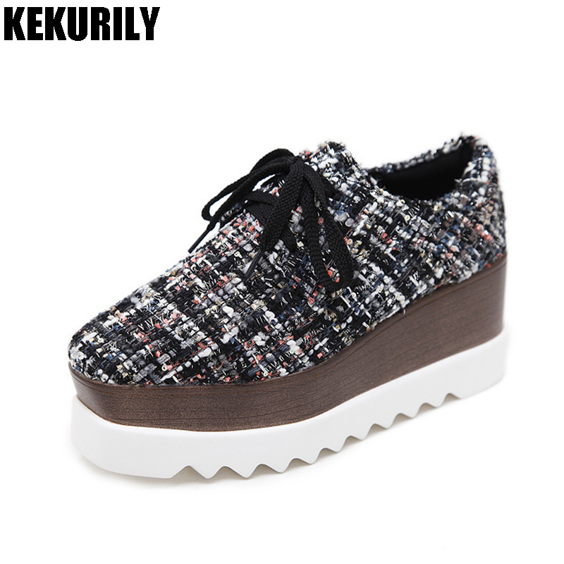 Shoes Women lace up Thick Bottom Platform Wedge Sneakers Gladiator Square Toe Shoes Height Increasing Leisure Shoes black gray 2017 british style women casual shoes street snap low top platform wedge shoes black white lace up thick bottom shoes women