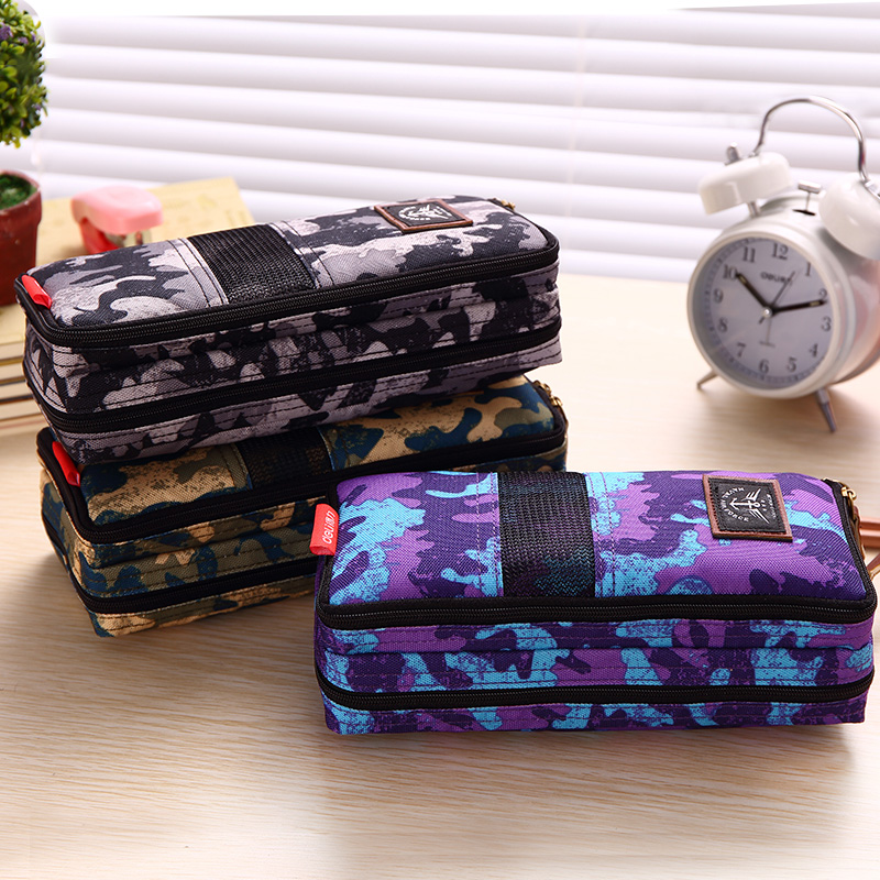 HOT large Canvas School Pencil case Bag Box for Girls Boys Washable School Supplies Gift 31738A Brand Deli