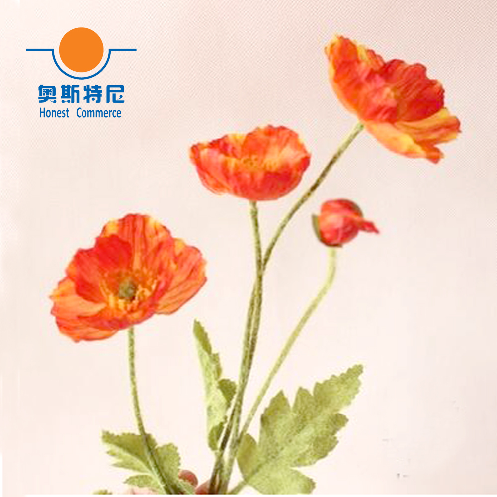 5pcs artificial flower bouquets orange red color artificial corn poppy flowers bouquetspapaver rhoeascoquelicot bunches in artificial dried flowers from