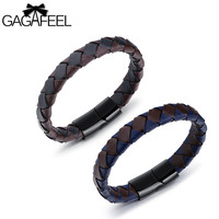 GAGAFEEL Woven Braided Rope Bracelet For Business Men Stainless Steel Leather Bracelet Magnetic Buckle Bangles Fashion Jewelry