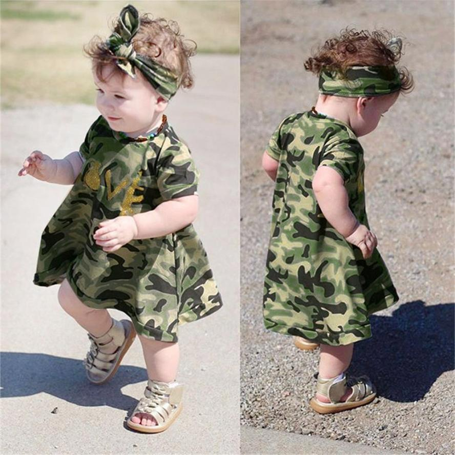 2Pcs Baby Girls clothes sets Camouflage print Cloth summer baby girls Dress kids+Headband Clothes Sundress Casual Girls dress
