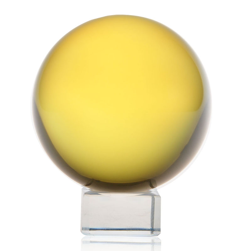 60mm Yellow Crystal Ball Glass Ball Globe with base Fengshui Miniature Oornaments For Gi ...