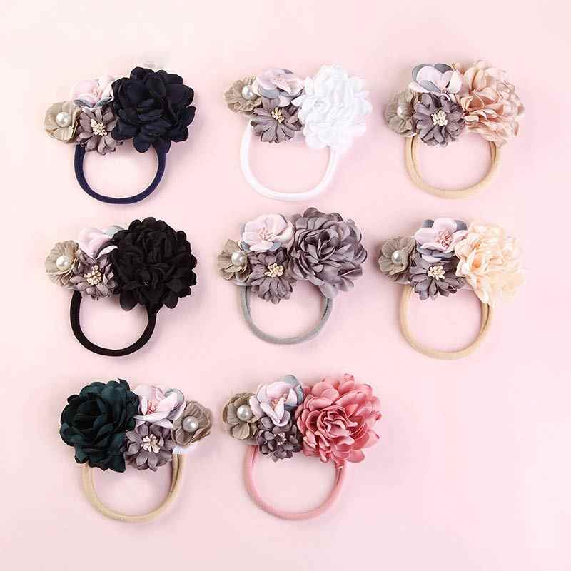 Flower 13 Colors Lovely Elastic Big Pearl Fake Flower Nylon Hair Bands For Kids Adjustable Crystal 1PC Baby Headband