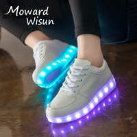 Luminous Sneakers Casual Shoes Glowing Sneakers Big Kids Children Boys Girls LED Shoes with Light Up Sole Basket LED Slippers 30