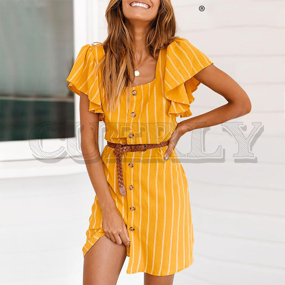 CUERLY Vintage striped ruffle short sleeve women dress Summer buttons plus size linen cotton vestidos Casual holiday dresses