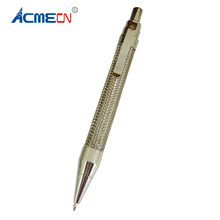 ACMECN Hi-Tech Metal Press Ball Point Pen Silver Trim Push action Office & School Supplier Blue Refill Propelling Braid