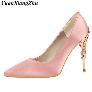 Image 5 - Elegant Metal Carved Heels Women Pumps 2019 High Quality Fashion Sexy Silk High Heels 13 Color /10cm Shoes Woman Wedding Shoes
