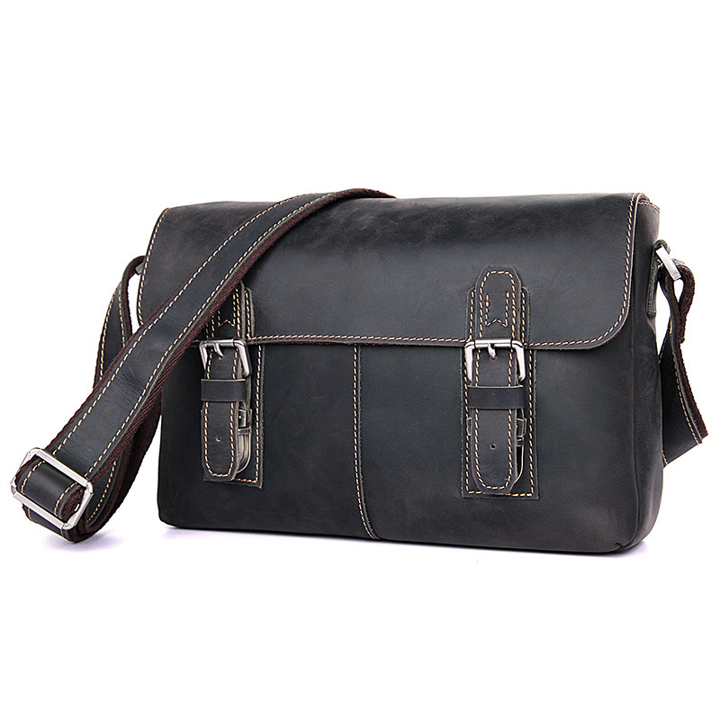 J.M.D 100% Men's Fashion Leather Bag Crazy Horse Leather Cross Body Briefcase Sling Bag Shoulder Messenger Bag 6002(China)