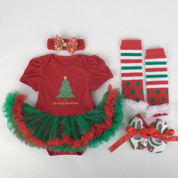 Autumn Christmas Floral Baby Girl Clothes Newborn Baby Romper Tutu Dress Headband Shoes Leggings 4pcs Baby
