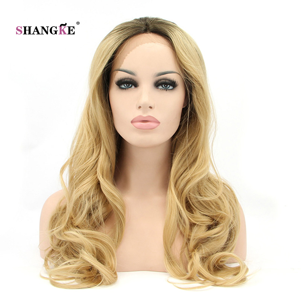 SHANGKE Hair 26'' Long Lace Front Wig Blonde Wavy Synthetic Wigs For White Women Heat Resistant Synthetic Hair Wig
