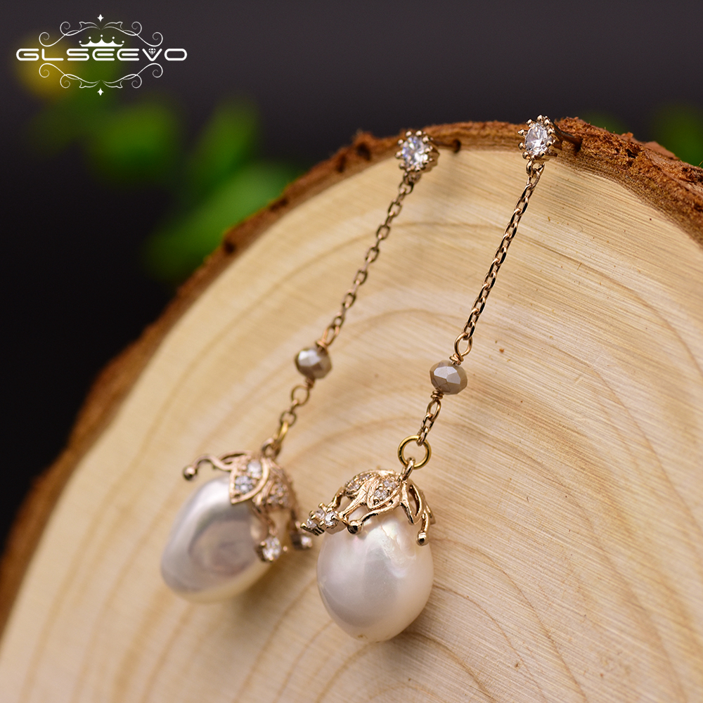 GLSEEVO Natural Fresh Water Baroque White Pearl Long Water Drop Earrings For Women Handmade Fine Jewelry Orecchini Donna GE0319 glseevo natural fresh water pearl chokers necklace for women handmade necklaces luxury fine jewelry gargantilha kolye gn0047