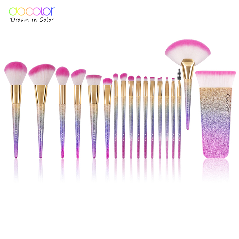 Docolor 18PCS Brand Makeup Brushes Tools Kit Powder Foundation Blush Eye Shadow Blending Fan Cosmetic Beauty Make Up Brushes fashion 10pcs professional makeup powder foundation blush eyeshadow brushes sponge puff 15 color cosmetic concealer palette